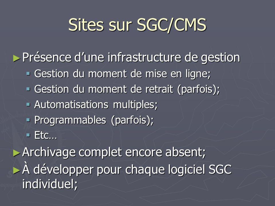 Sites sur SGC/CMS Présence dune infrastructure de gestion Présence dune infrastructure de gestion Gestion du moment de mise en ligne; Gestion du moment de mise en ligne; Gestion du moment de retrait (parfois); Gestion du moment de retrait (parfois); Automatisations multiples; Automatisations multiples; Programmables (parfois); Programmables (parfois); Etc… Etc… Archivage complet encore absent; Archivage complet encore absent; À développer pour chaque logiciel SGC individuel; À développer pour chaque logiciel SGC individuel;