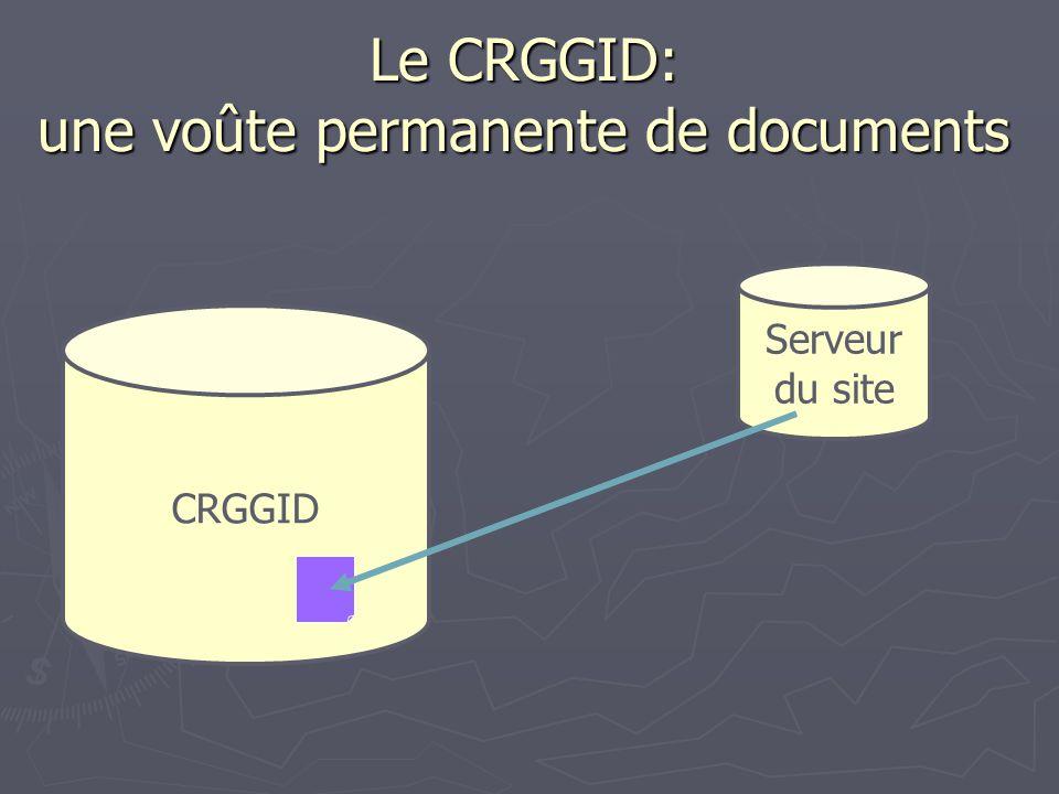 Le CRGGID: une voûte permanente de documents CRGGID Serveur du site