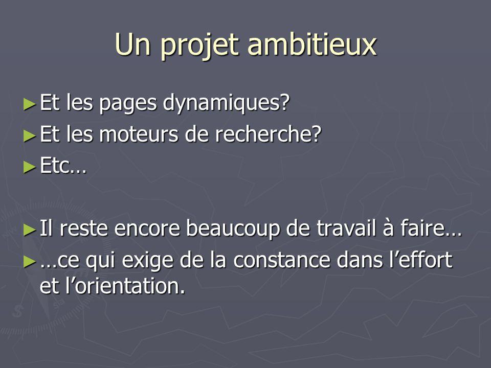 Un projet ambitieux Et les pages dynamiques? Et les pages dynamiques? Et les moteurs de recherche? Et les moteurs de recherche? Etc… Etc… Il reste enc