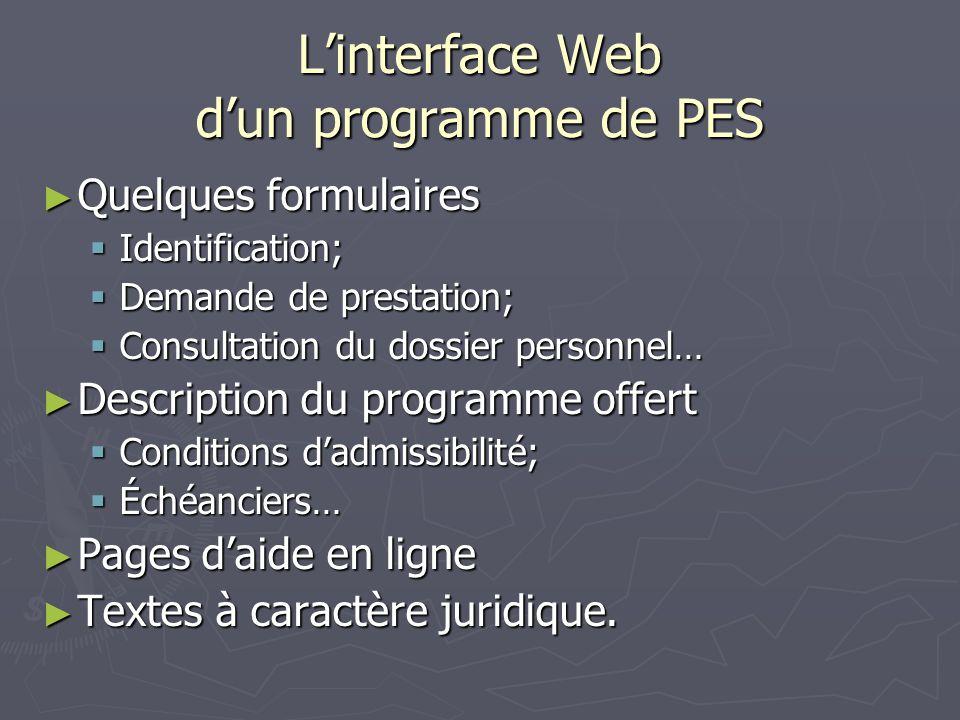 Linterface Web dun programme de PES Quelques formulaires Quelques formulaires Identification; Identification; Demande de prestation; Demande de presta
