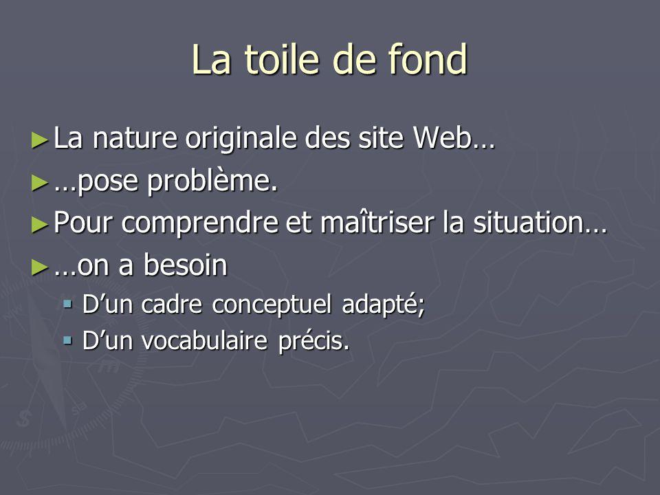 La toile de fond La nature originale des site Web… La nature originale des site Web… …pose problème. …pose problème. Pour comprendre et maîtriser la s