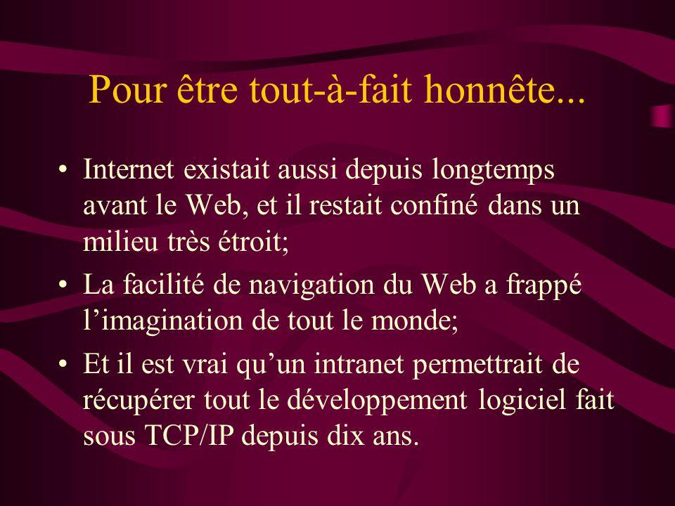 Pour être tout-à-fait honnête... Internet existait aussi depuis longtemps avant le Web, et il restait confiné dans un milieu très étroit; La facilité
