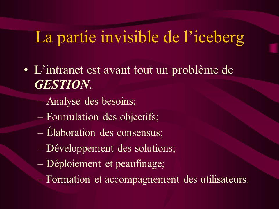 La partie invisible de liceberg Lintranet est avant tout un problème de GESTION. –Analyse des besoins; –Formulation des objectifs; –Élaboration des co