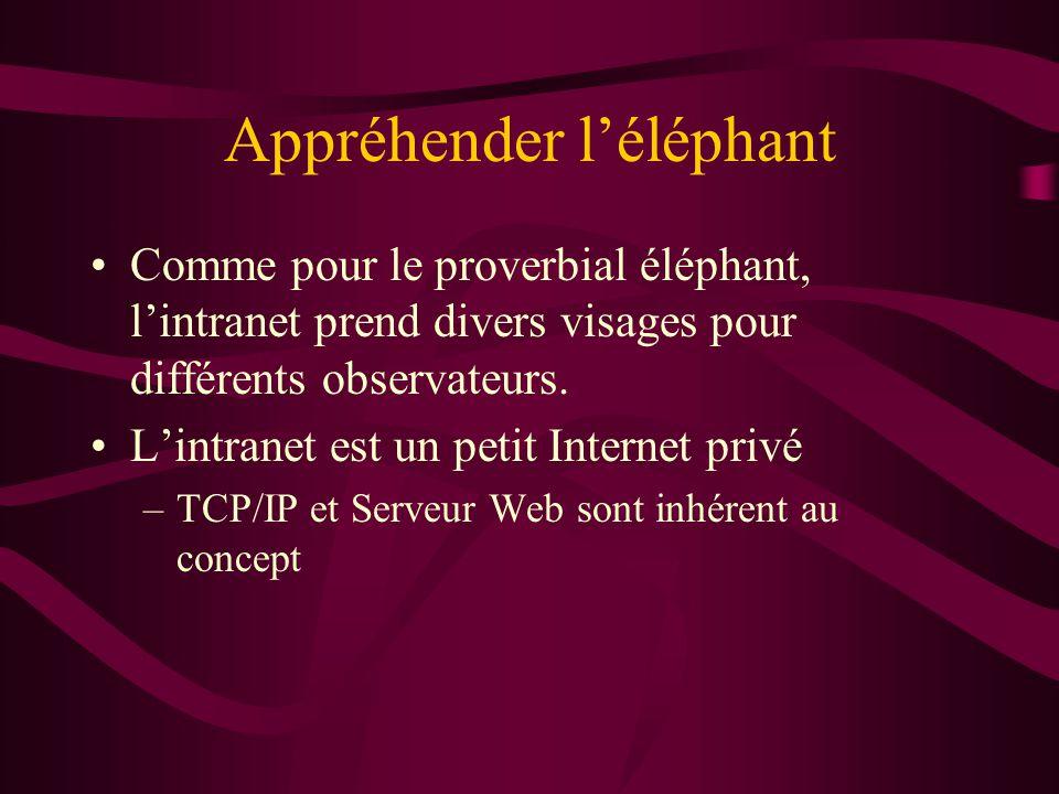 Appréhender léléphant Comme pour le proverbial éléphant, lintranet prend divers visages pour différents observateurs. Lintranet est un petit Internet