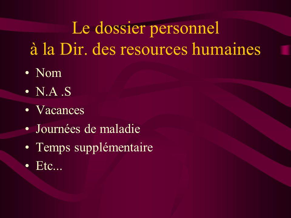Le dossier personnel à la Dir. des resources humaines Nom N.A.S Vacances Journées de maladie Temps supplémentaire Etc...