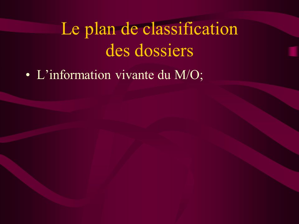 Le plan de classification des dossiers Linformation vivante du M/O;
