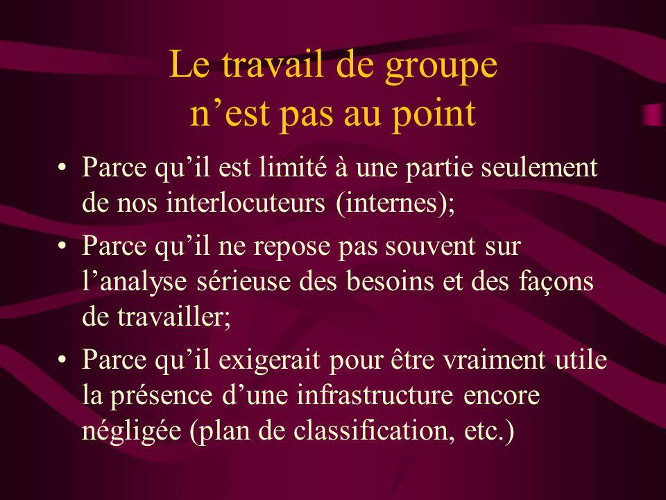 Le travail de groupe nest pas au point Parce quil est limité à une partie seulement de nos interlocuteurs (internes); Parce quil ne repose pas souvent