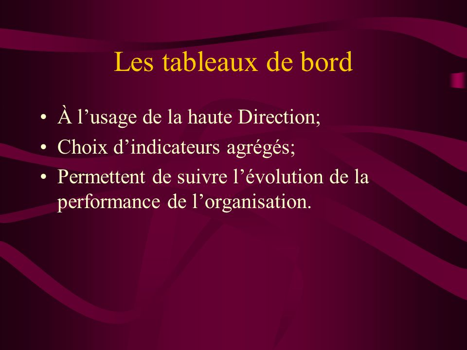 Les tableaux de bord À lusage de la haute Direction; Choix dindicateurs agrégés; Permettent de suivre lévolution de la performance de lorganisation.