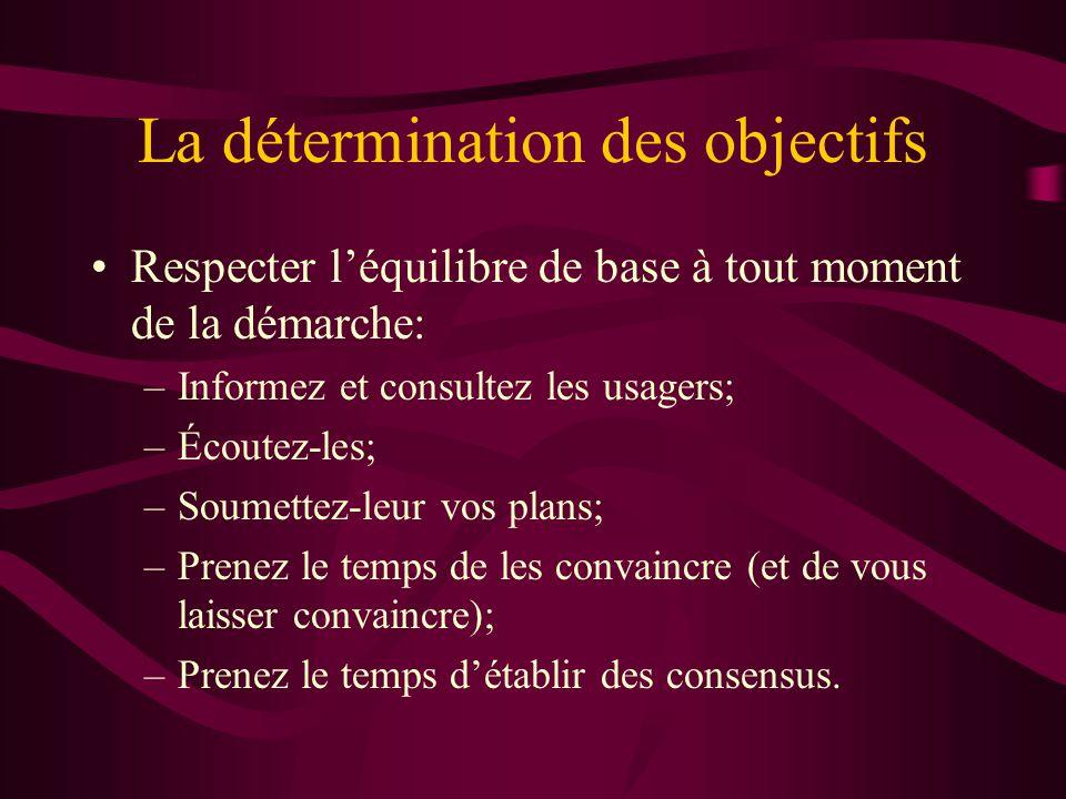 La détermination des objectifs Respecter léquilibre de base à tout moment de la démarche: –Informez et consultez les usagers; –Écoutez-les; –Soumettez