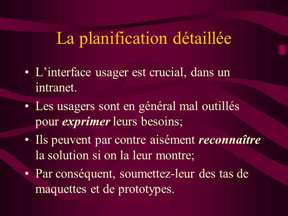 La planification détaillée Linterface usager est crucial, dans un intranet.