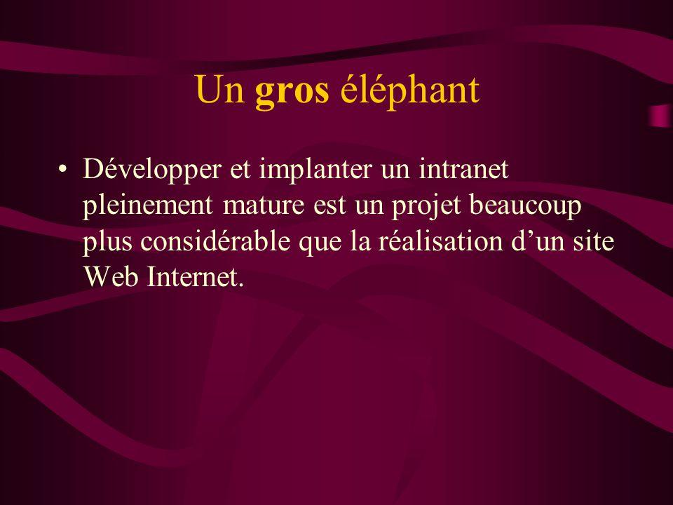 Un gros éléphant Développer et implanter un intranet pleinement mature est un projet beaucoup plus considérable que la réalisation dun site Web Intern