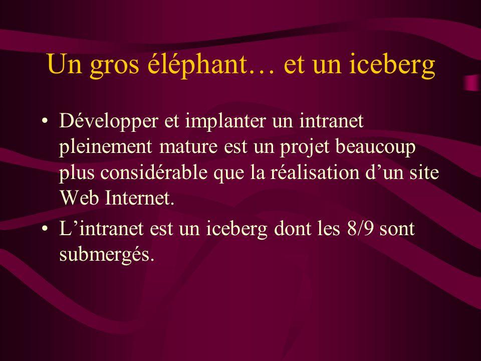 Un gros éléphant… et un iceberg Développer et implanter un intranet pleinement mature est un projet beaucoup plus considérable que la réalisation dun site Web Internet.