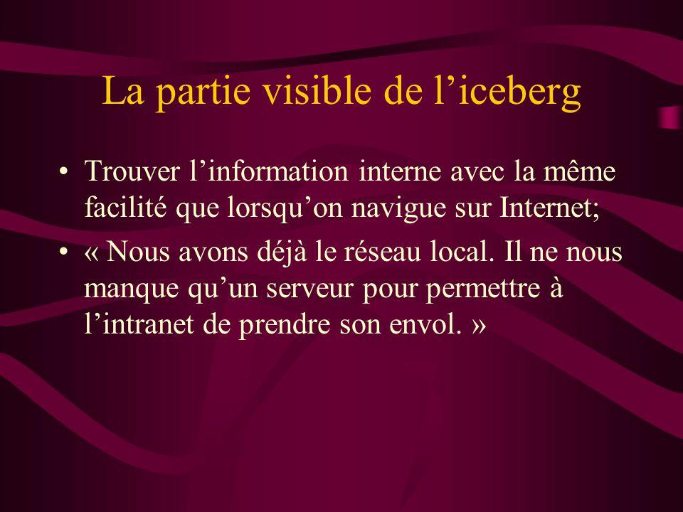 La partie visible de liceberg Trouver linformation interne avec la même facilité que lorsquon navigue sur Internet; « Nous avons déjà le réseau local.