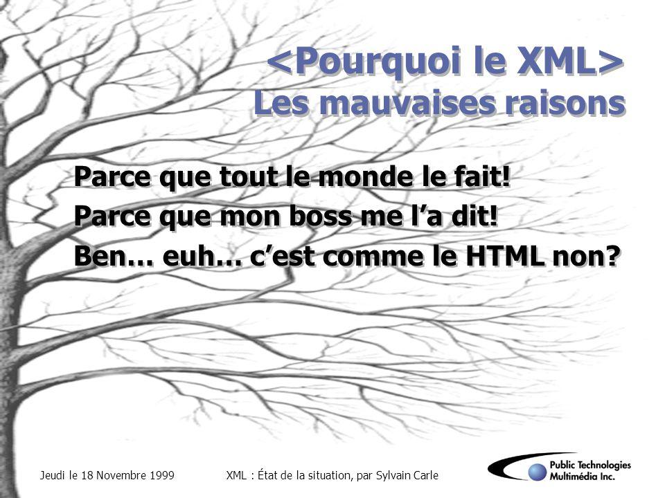 Jeudi le 18 Novembre 1999XML : État de la situation, par Sylvain Carle Les mauvaises raisons Parce que tout le monde le fait.