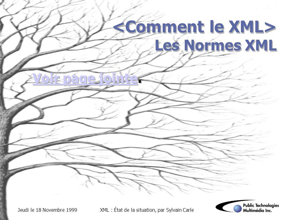 Jeudi le 18 Novembre 1999XML : État de la situation, par Sylvain Carle Les Normes XML Voir page jointeVoir page jointe.