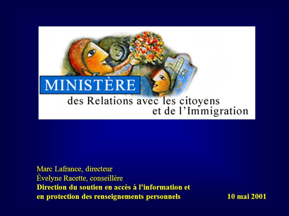 Marc Lafrance, directeur Èvelyne Racette, conseillère Direction du soutien en accès à linformation et en protection des renseignements personnels 10 mai 2001