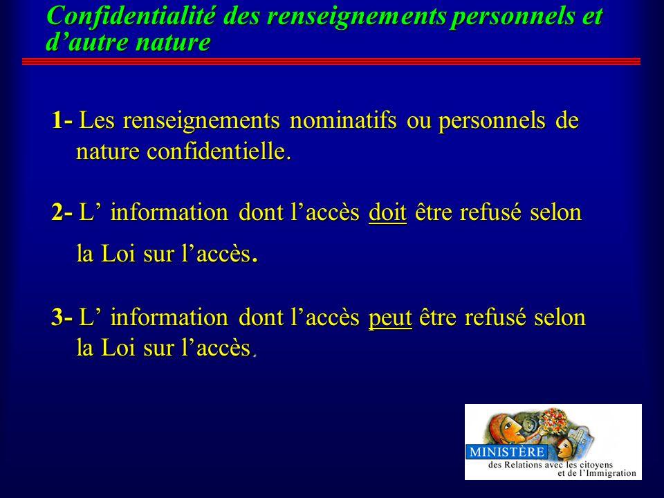 Confidentialité des renseignements personnels et dautre nature 1- Les renseignements nominatifs ou personnels de nature confidentielle.