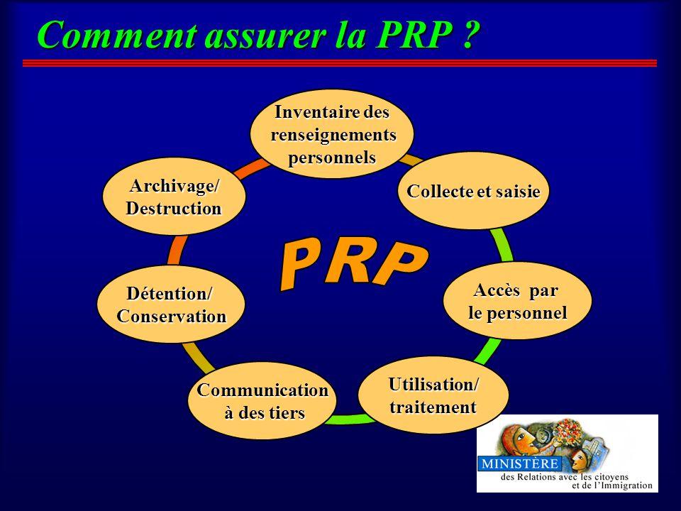 Comment assurer la PRP .