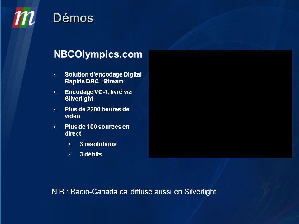 NBCOlympics.com Solution dencodage Digital Rapids DRC –Stream Encodage VC-1, livré via Silverlight Plus de 2200 heures de vidéo Plus de 100 sources en direct 3 résolutions 3 débits Démos N.B.: Radio-Canada.ca diffuse aussi en Silverlight