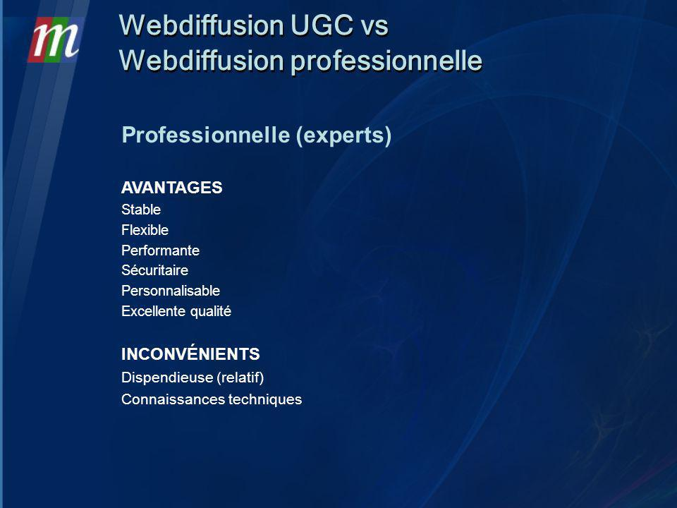 Webdiffusion UGC vs Webdiffusion professionnelle Webdiffusion UGC vs Webdiffusion professionnelle Professionnelle (experts) AVANTAGES Stable Flexible Performante Sécuritaire Personnalisable Excellente qualité INCONVÉNIENTS Dispendieuse (relatif) Connaissances techniques