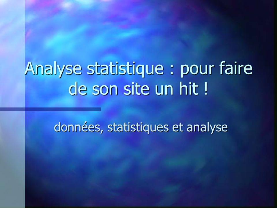 Analyse statistique : pour faire de son site un hit ! données, statistiques et analyse