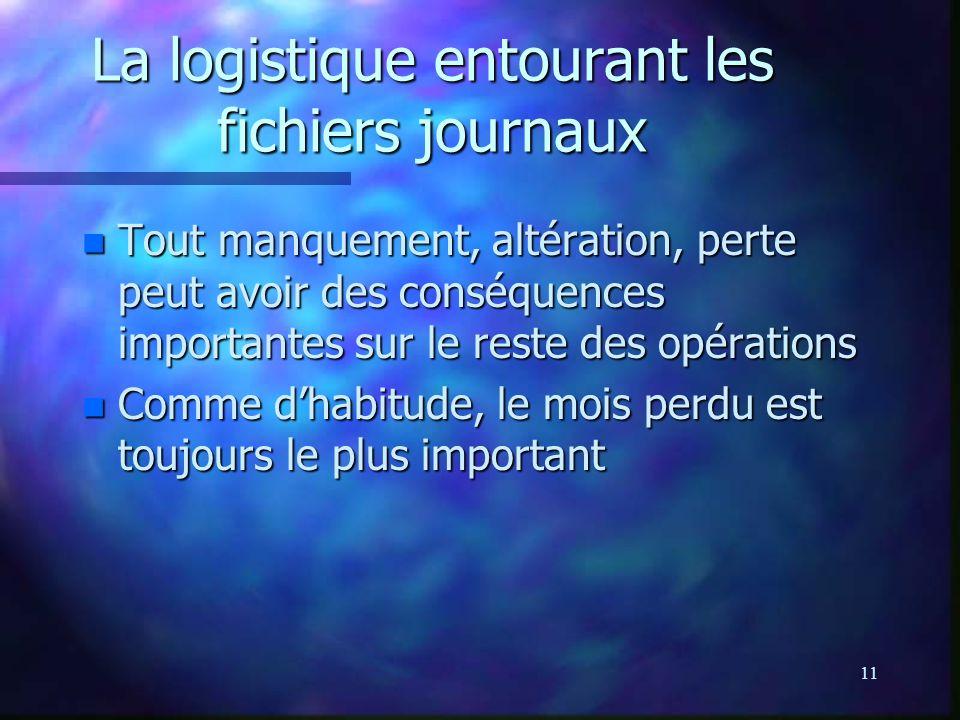 11 La logistique entourant les fichiers journaux n Tout manquement, altération, perte peut avoir des conséquences importantes sur le reste des opérati