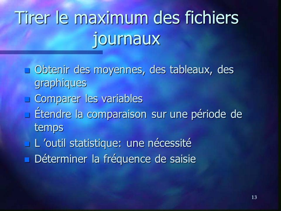13 Tirer le maximum des fichiers journaux n Obtenir des moyennes, des tableaux, des graphiques n Comparer les variables n Étendre la comparaison sur une période de temps n L outil statistique: une nécessité n Déterminer la fréquence de saisie