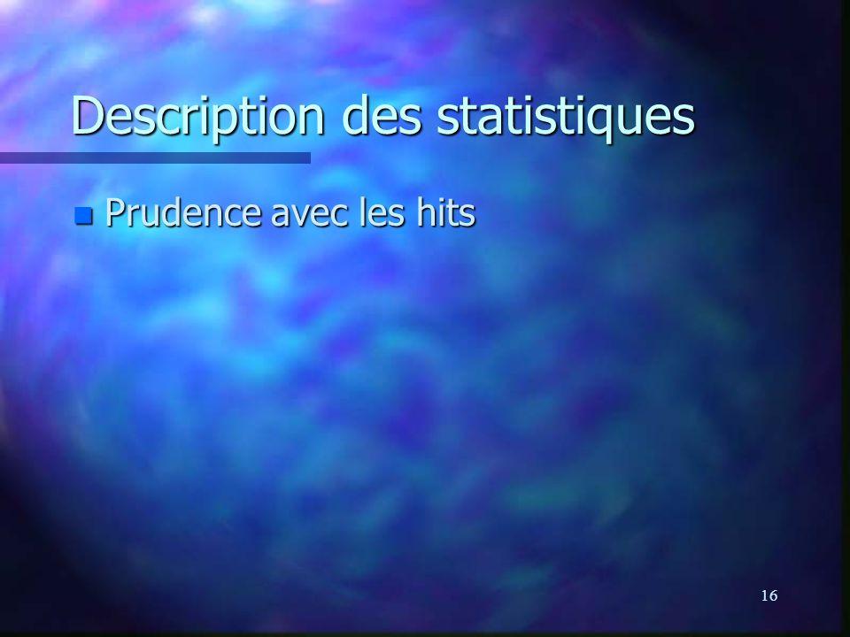 16 Description des statistiques n Prudence avec les hits