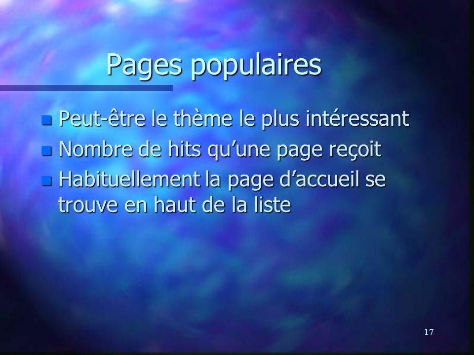 17 Pages populaires n Peut-être le thème le plus intéressant n Nombre de hits quune page reçoit n Habituellement la page daccueil se trouve en haut de la liste