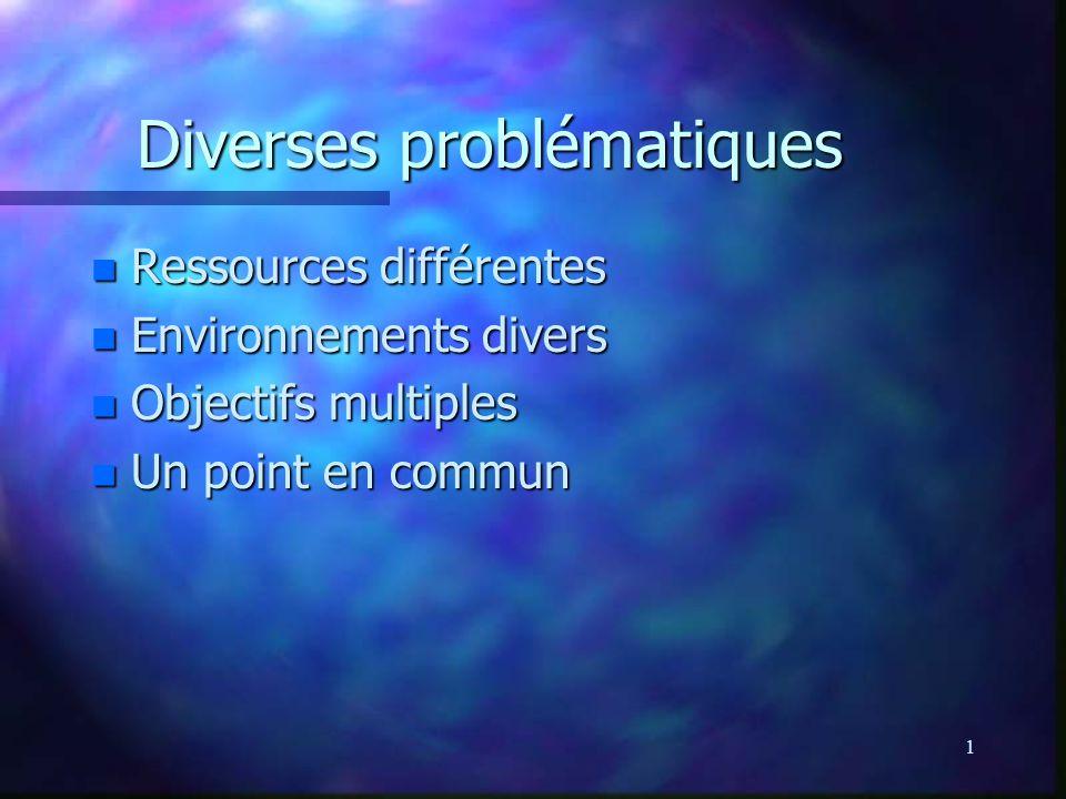 1 Diverses problématiques Diverses problématiques n Ressources différentes n Environnements divers n Objectifs multiples n Un point en commun