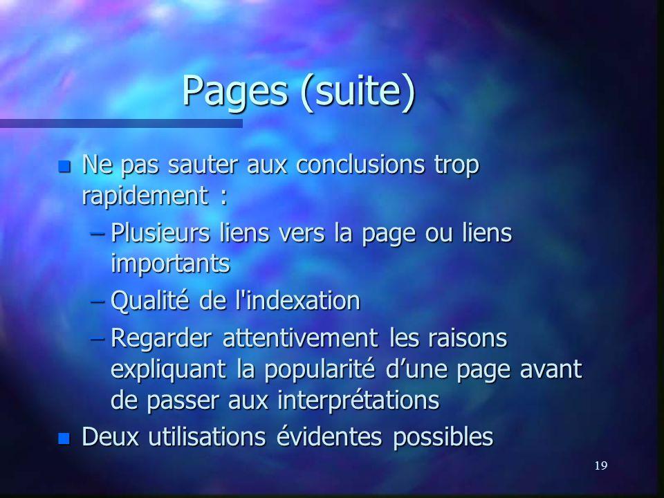 19 Pages (suite) n Ne pas sauter aux conclusions trop rapidement : –Plusieurs liens vers la page ou liens importants –Qualité de l'indexation –Regarde