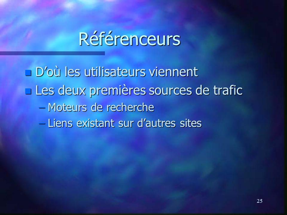25 Référenceurs n Doù les utilisateurs viennent n Les deux premières sources de trafic –Moteurs de recherche –Liens existant sur dautres sites
