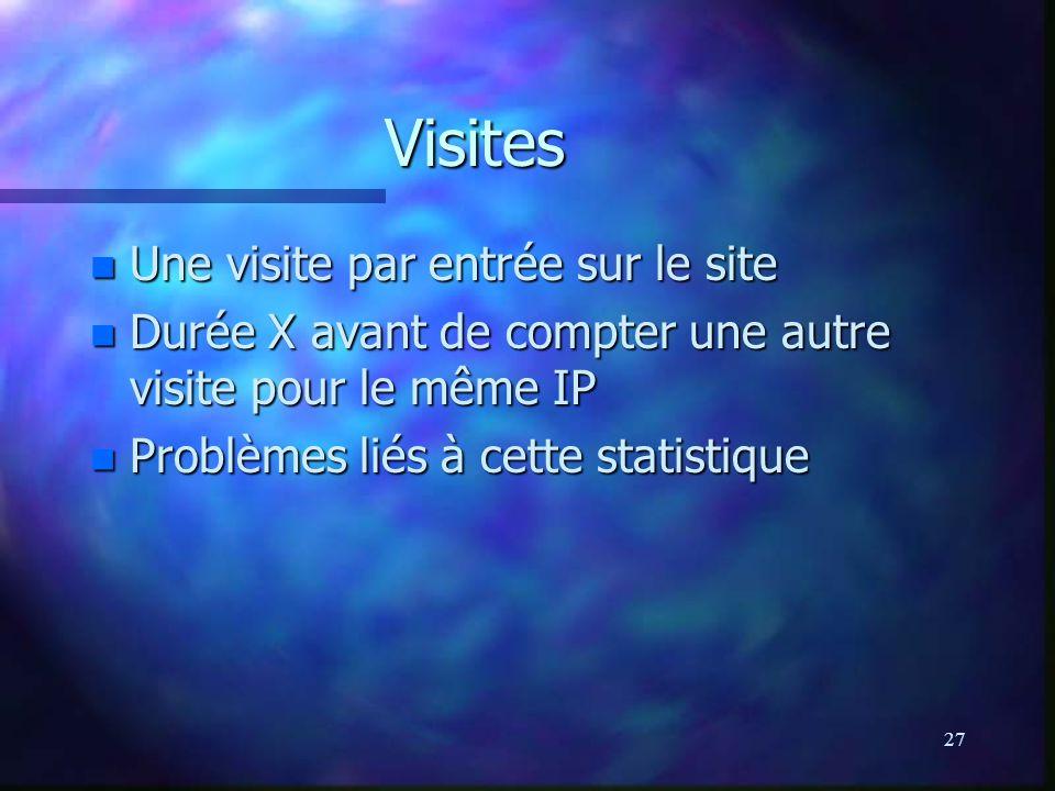 27 Visites n Une visite par entrée sur le site n Durée X avant de compter une autre visite pour le même IP n Problèmes liés à cette statistique