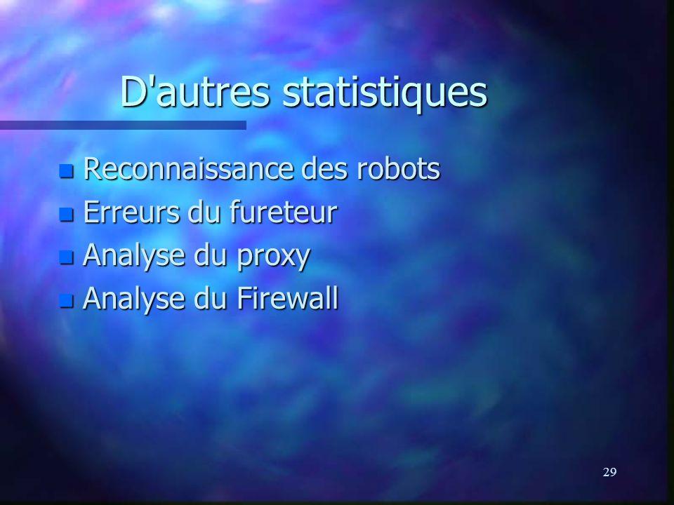29 D autres statistiques n Reconnaissance des robots n Erreurs du fureteur n Analyse du proxy n Analyse du Firewall