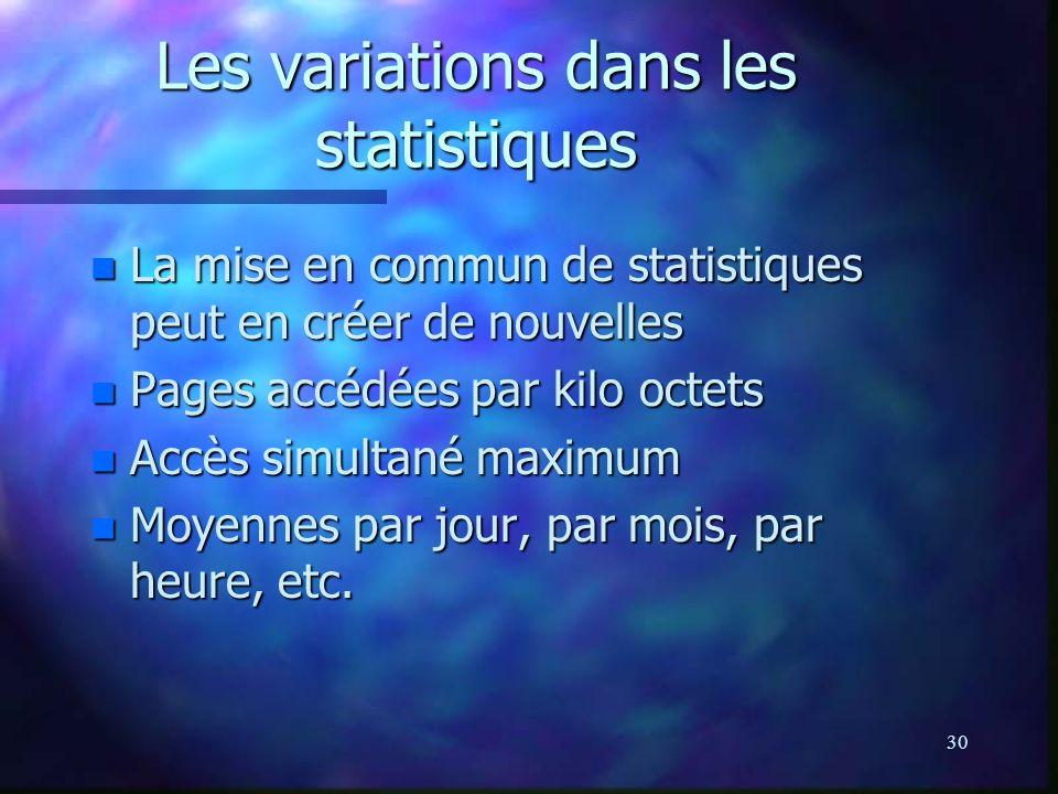30 Les variations dans les statistiques n La mise en commun de statistiques peut en créer de nouvelles n Pages accédées par kilo octets n Accès simultané maximum n Moyennes par jour, par mois, par heure, etc.
