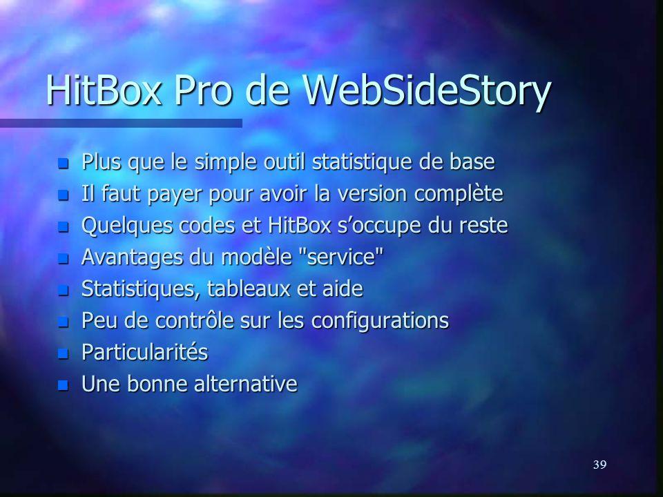 39 HitBox Pro de WebSideStory n Plus que le simple outil statistique de base n Il faut payer pour avoir la version complète n Quelques codes et HitBox soccupe du reste n Avantages du modèle service n Statistiques, tableaux et aide n Peu de contrôle sur les configurations n Particularités n Une bonne alternative