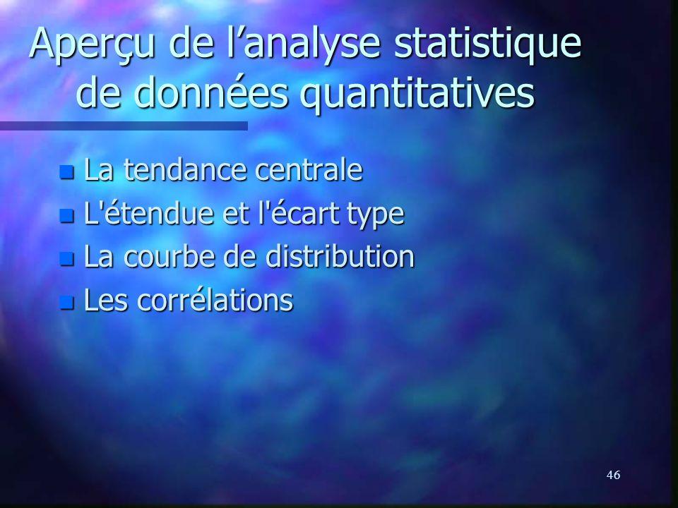 46 Aperçu de lanalyse statistique de données quantitatives n La tendance centrale n L'étendue et l'écart type n La courbe de distribution n Les corrél