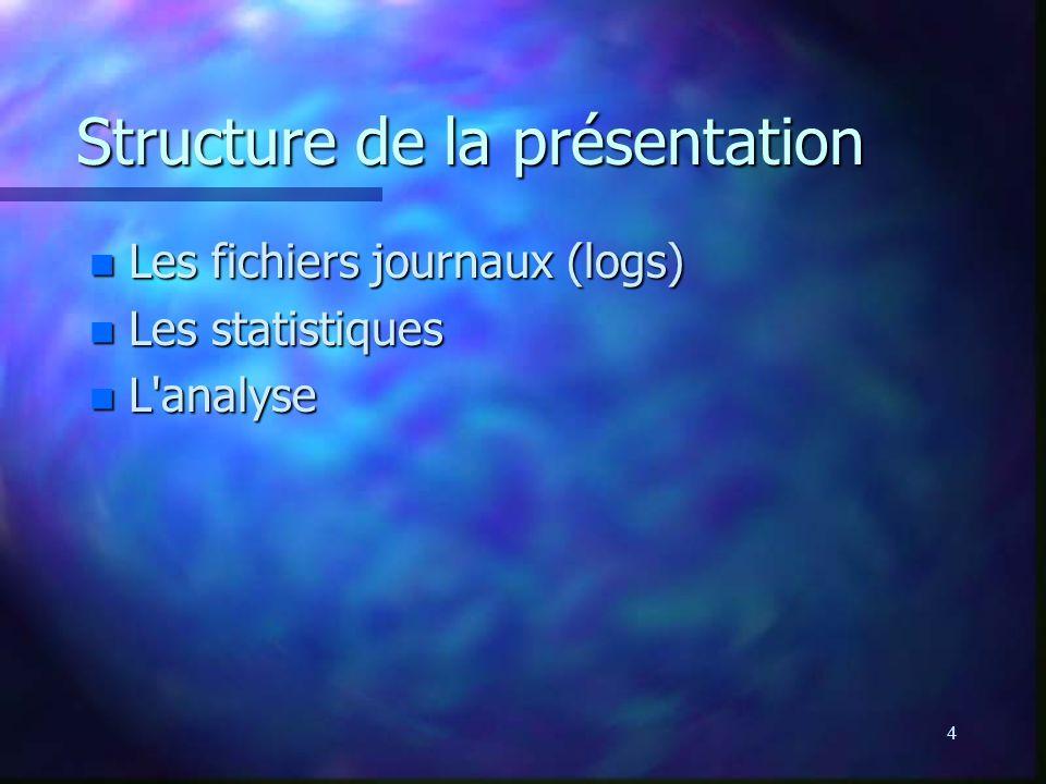 4 Structure de la présentation n Les fichiers journaux (logs) n Les statistiques n L'analyse