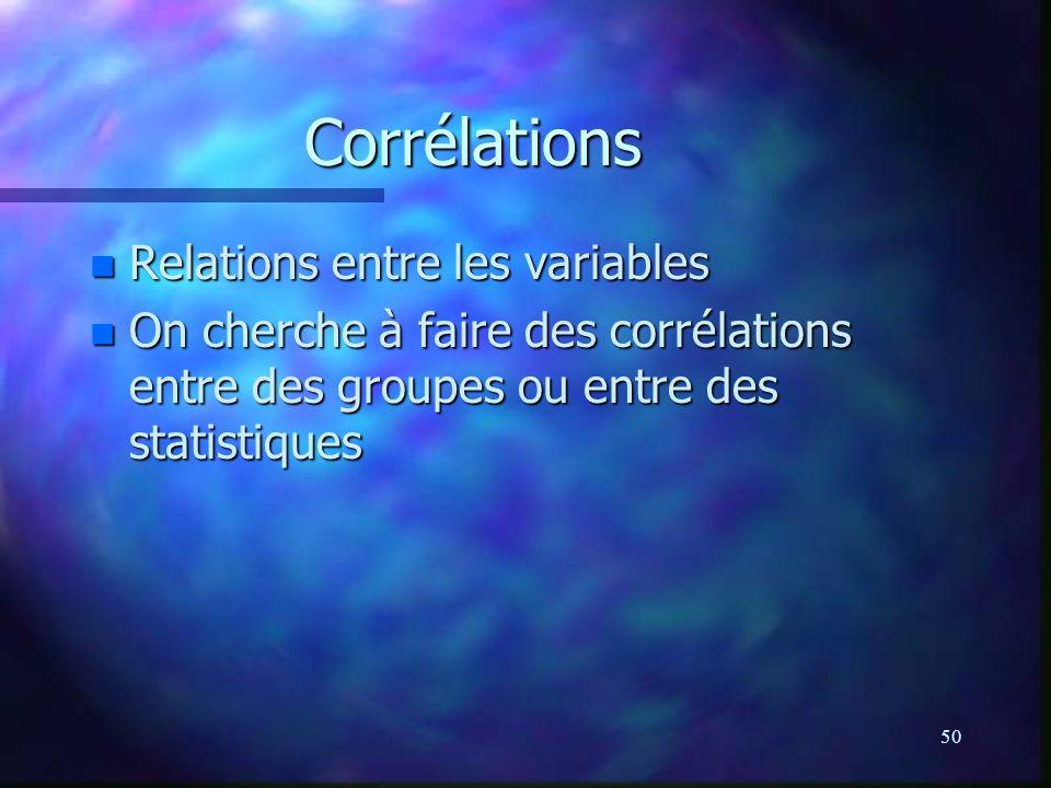 50 Corrélations n Relations entre les variables n On cherche à faire des corrélations entre des groupes ou entre des statistiques