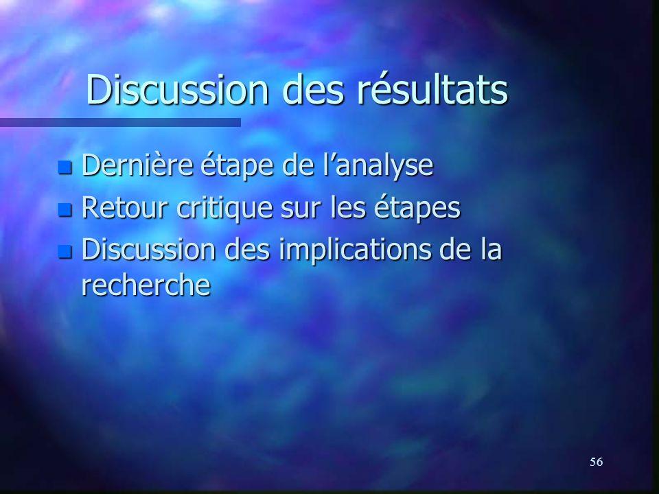 56 Discussion des résultats n Dernière étape de lanalyse n Retour critique sur les étapes n Discussion des implications de la recherche