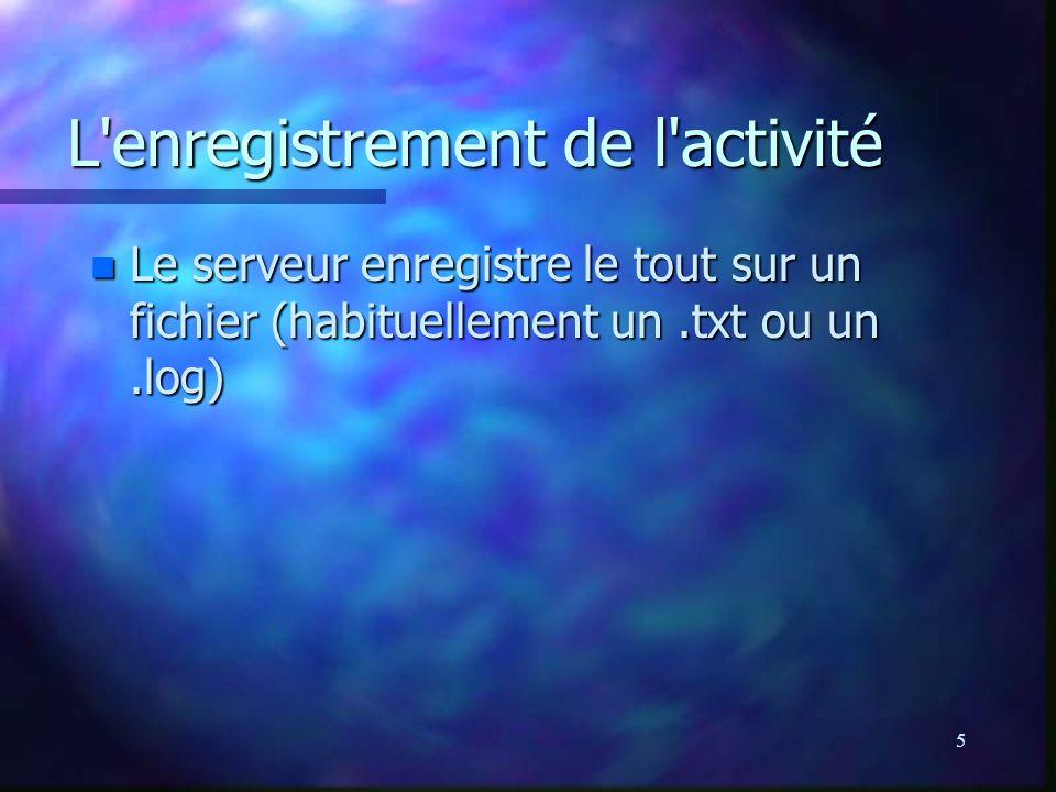 5 L enregistrement de l activité n Le serveur enregistre le tout sur un fichier (habituellement un.txt ou un.log)