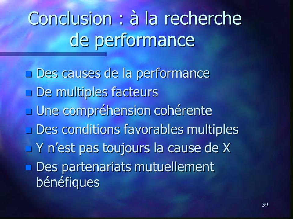 59 Conclusion : à la recherche de performance Conclusion : à la recherche de performance n Des causes de la performance n De multiples facteurs n Une compréhension cohérente n Des conditions favorables multiples n Y nest pas toujours la cause de X n Des partenariats mutuellement bénéfiques