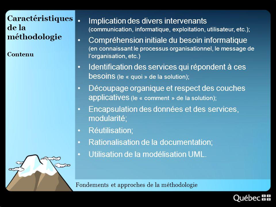 Caractéristiques de la méthodologie Contenu Implication des divers intervenants (communication, informatique, exploitation, utilisateur, etc.); Compré