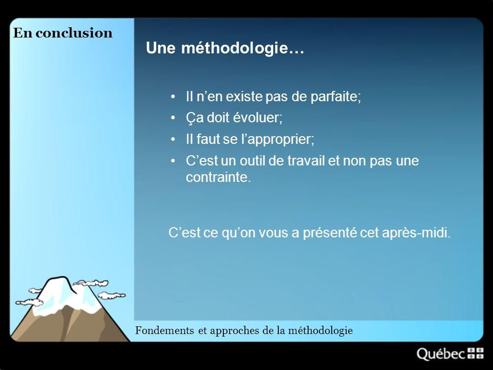 En conclusion Une méthodologie… Il nen existe pas de parfaite; Ça doit évoluer; Il faut se lapproprier; Cest un outil de travail et non pas une contra