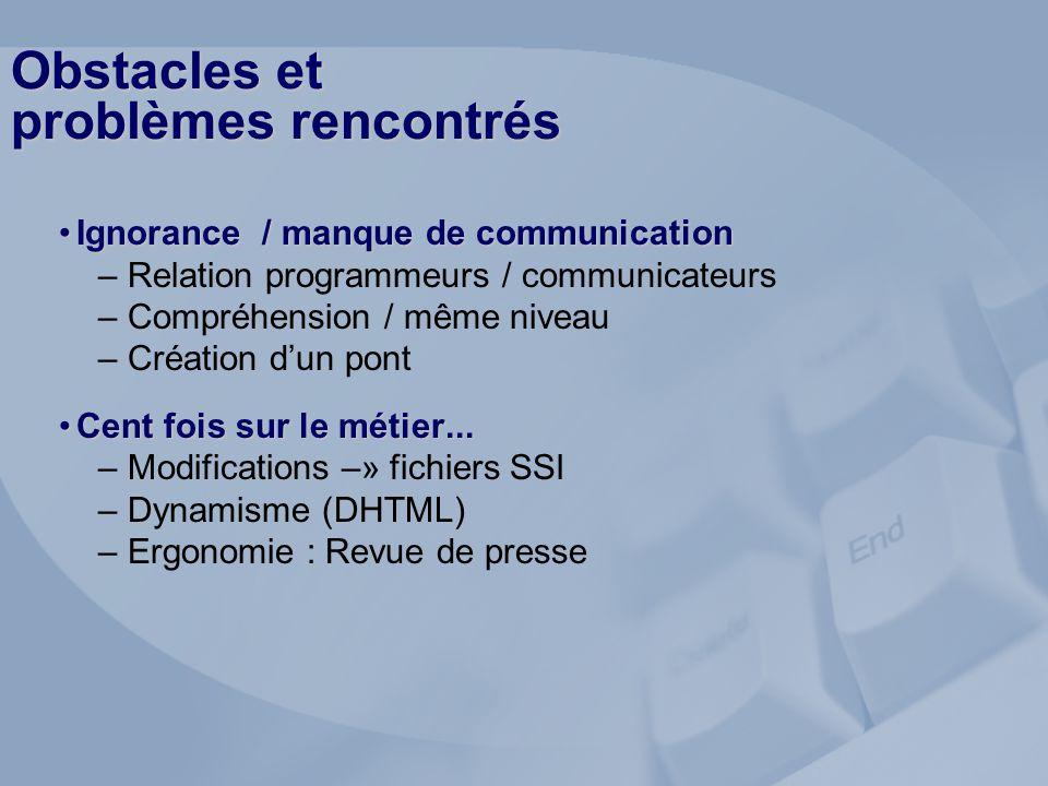 Obstacles et problèmes rencontrés Ignorance / manque de communicationIgnorance / manque de communication – Relation programmeurs / communicateurs – Co