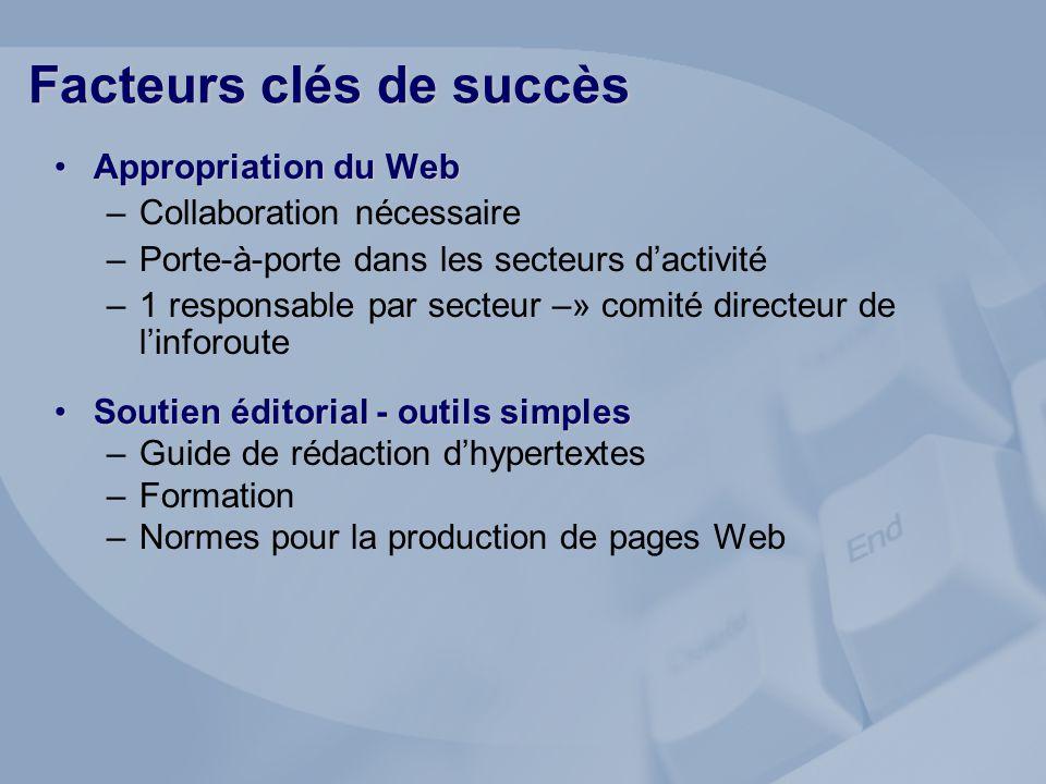 Appropriation du WebAppropriation du Web –Collaboration nécessaire –Porte-à-porte dans les secteurs dactivité –1 responsable par secteur –» comité dir