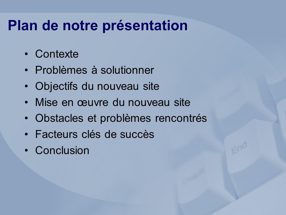 Plan de notre présentation Contexte Problèmes à solutionner Objectifs du nouveau site Mise en œuvre du nouveau site Obstacles et problèmes rencontrés