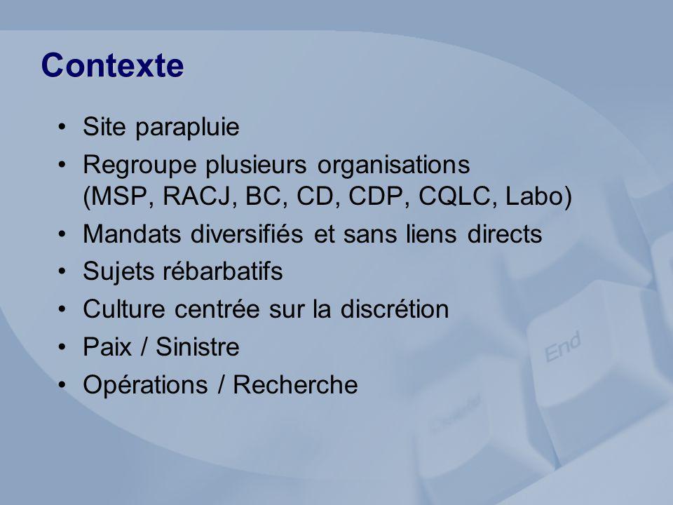 Contexte Site parapluie Regroupe plusieurs organisations (MSP, RACJ, BC, CD, CDP, CQLC, Labo) Mandats diversifiés et sans liens directs Sujets rébarbatifs Culture centrée sur la discrétion Paix / Sinistre Opérations / Recherche