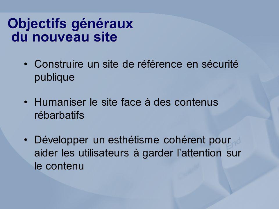 Objectifs généraux du nouveau site Construire un site de référence en sécurité publique Humaniser le site face à des contenus rébarbatifs Développer u
