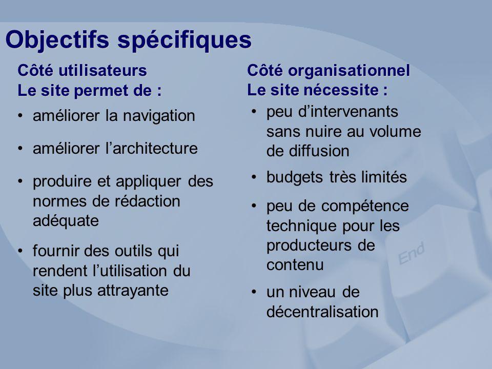 Objectifs spécifiques Côté organisationnel Le site nécessite : Côté utilisateurs Le site permet de : un niveau de décentralisation peu de compétence t
